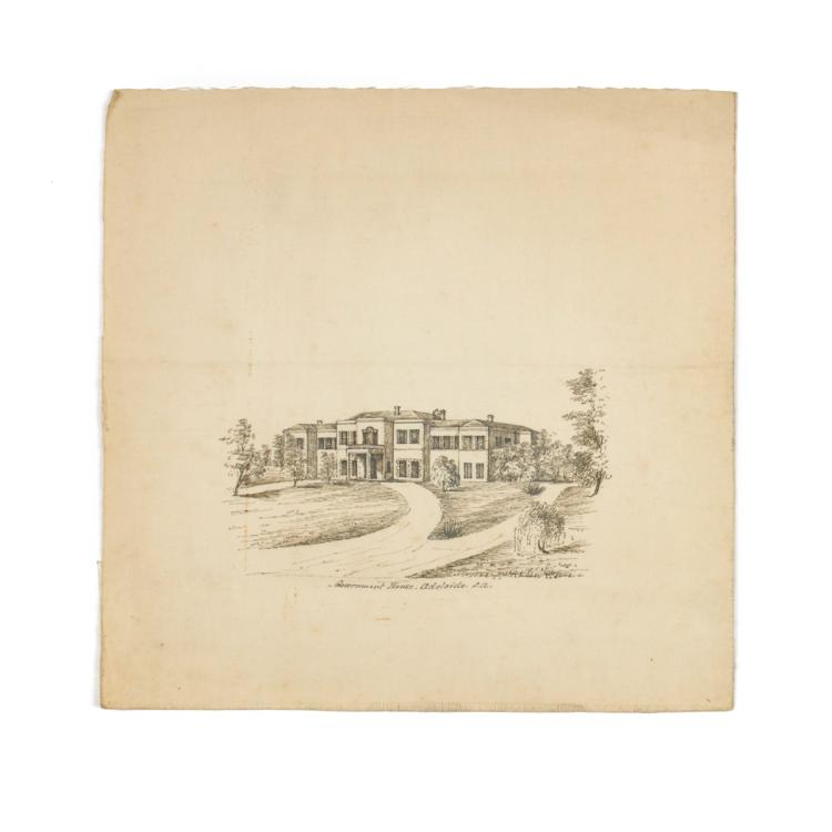 An original black ink sketch on silk of Government House, Adelaide
