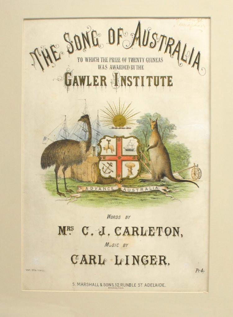 CARLETON, Caroline: The cover for the music to 'The Song of Australia' (c. 1880s)