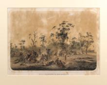 SCHRAMM, Alexander: Native Encampment in South Australia (lithograph, c. 1859)