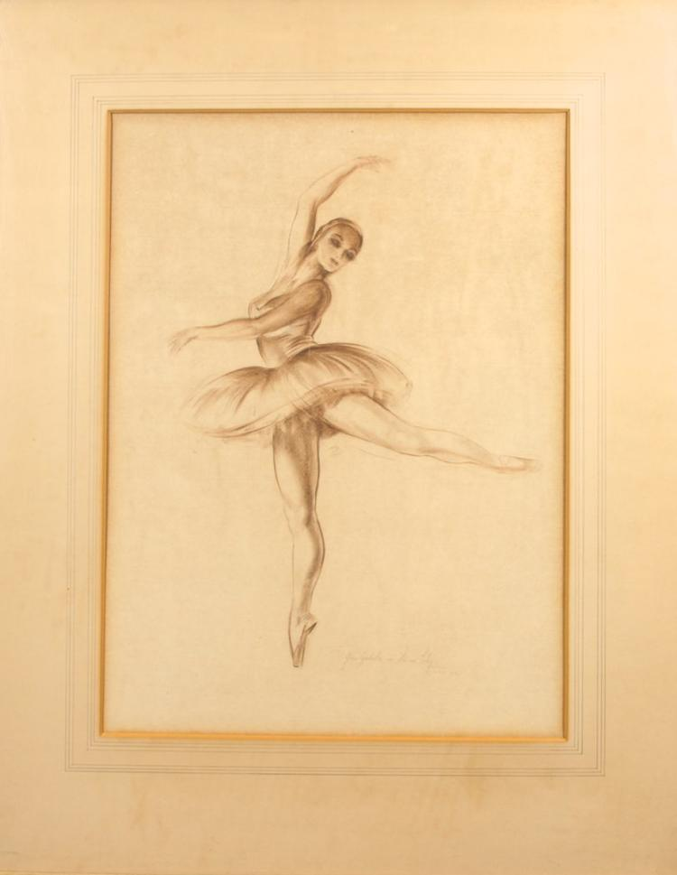 KIRSOVA: Australian Ballet (1944) + Original pastel drawing by Trevor Clare