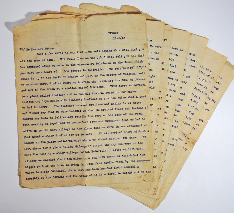 24 letters written by Pte Cyril Dunphy