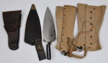 Lot of three items. 1873 pattern 45-70 Trap Door Trowel Bayonet with scabbard. Nice blueing on scocket, light rust and peppering on blade and scocket. A US M1916 Leather Belt Holster for the Colt M1911 .45 acp pistol. Stamped