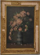 George Henry Hall. Table top still life painting. Blue pottery vase pink rhododendron floral branches,. Signed lower right-