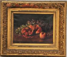 George Henry Hall. Table top still life painting with pomegranates, peaches and grapes. Faintly signed and dated lower left, 1882. Oil on canvas. Framed. Sight size: 12