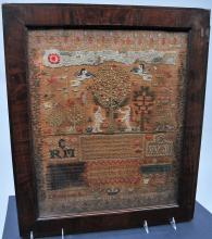 English school needlework sampler depicting Adam and Eve, signed Ann Carbutt, born 1814.  Having silk chenille work on clouds and sun, having trees, cherubs, flowers, bugs and farm animals, trailing roses, berries and more.  Housed in a cross-banded mahogany frame. Condition: discoloration and various stains