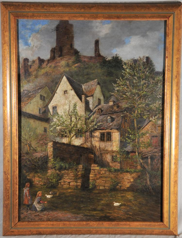 Bodo Wille. German hillside landscape with buildings and figures by the river. Oil on canvas laid on masonite. Framed. S.L.L. Sight size- 31-1/2