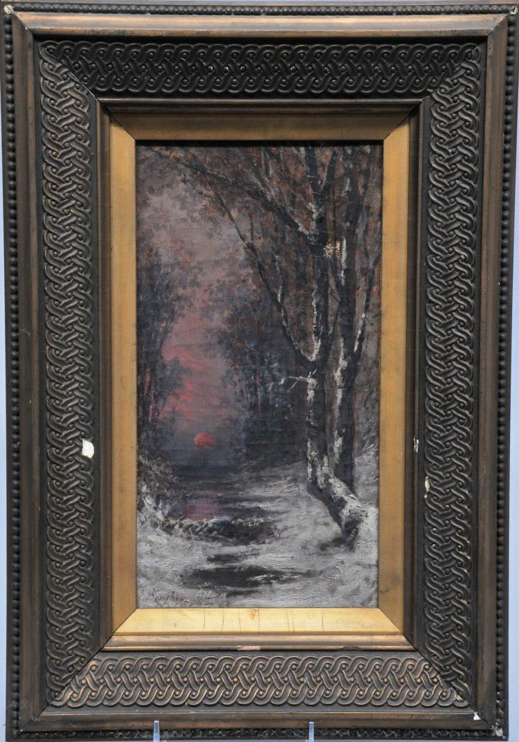 Ernest Bouche winter woodland interior painting with setting sun. Oil on canvas. Framed. S.L.L. Sight size: 6-1/2
