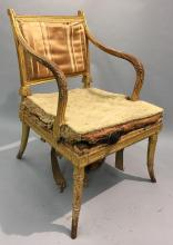 English gilt Adams Armchair, Circa 1770-1790, Attributed to Robert Adam (1728-1792) in the Neoclassical taste, inscribed in pen on back of stretcher: