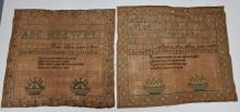 Two similar American needlework samplers.  Both of virtually identical format except for borders.  Executed by sisters Harriet Norton and Martha Norton of Vermont (possibly Rutland, VT).  Both samplers having alphabet and religious verse,  along with multicolored baskets of flowers, Circa 1820. Removed from contemporary frames for examination, slightly wrinkled but in very good condition.