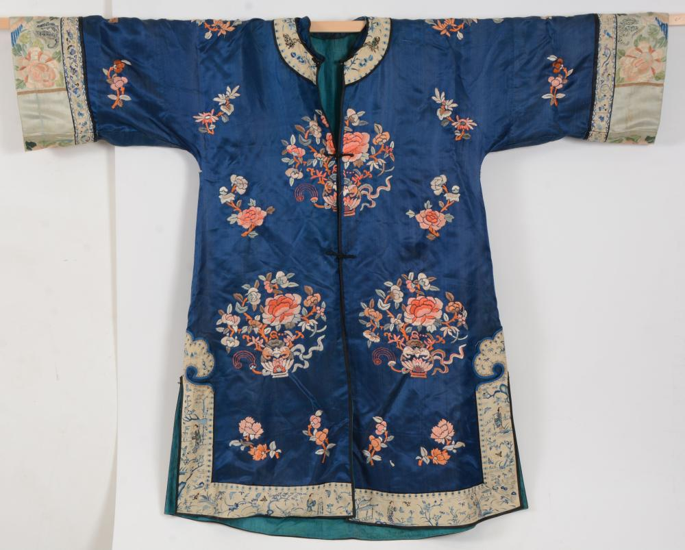 Chinese late 19th century blue ground embroidered silk