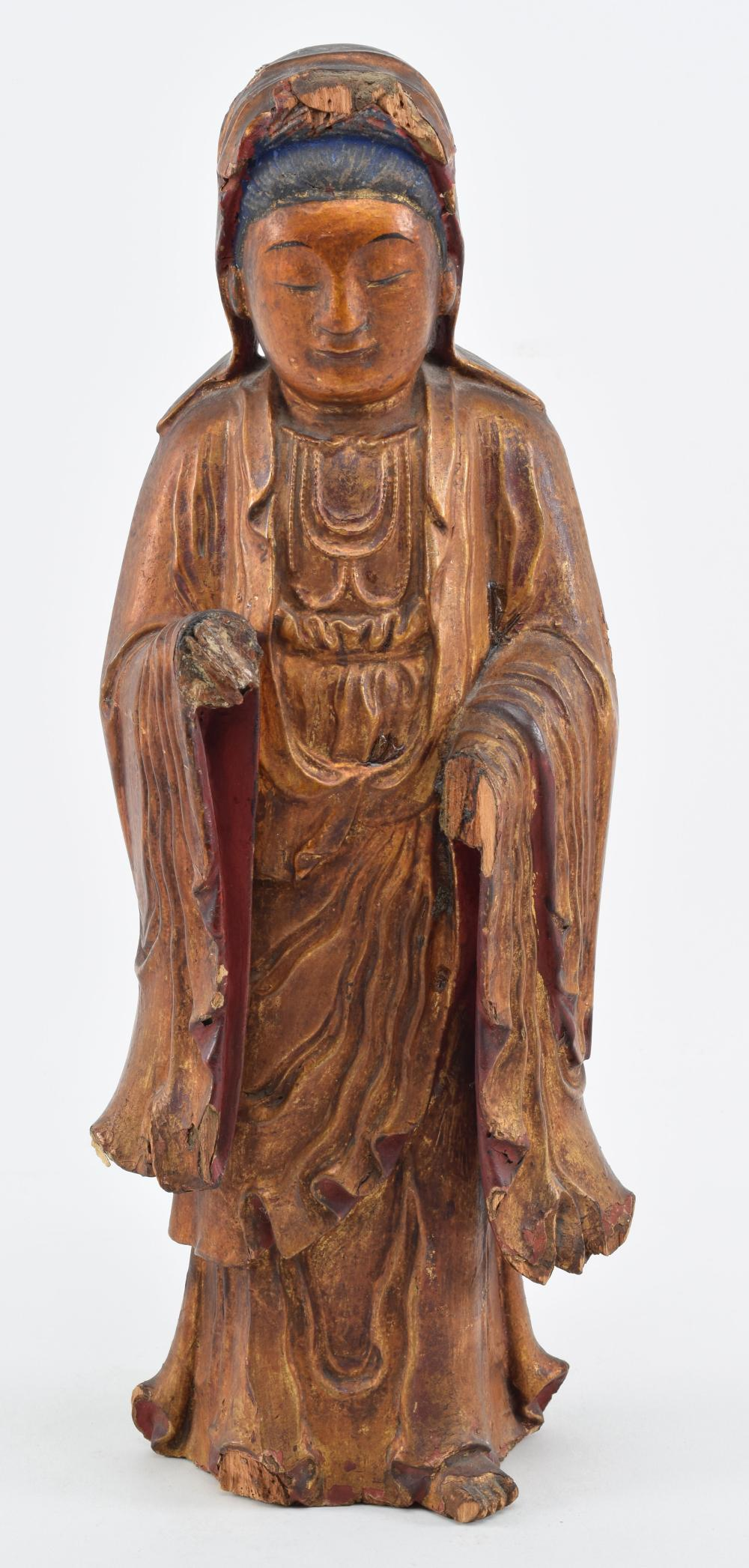 18th/19th century Chinese carved and gilt wood standing
