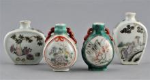 Lot of four porcelain snuff bottles. China. Late 19th century/Early 20th century. Tallest- 2-3/4