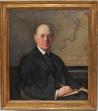 """Joseph R. DeCamp. 1918- . Portrait of a man writing with a map of Boston in the background. Oil on canvas. Framed. S.U.R. Sight size: 33"""" x 29"""". Overall size: 39"""" x 35"""". Loss to frame."""
