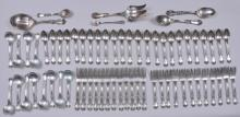 """Lot 8: Reed and Barton """"Burgundy"""" pattern 66 piece partial flatware set. Includes (12) salad forks- 6-1/2"""". (12) cream soup spoons- 6-1/4"""". (12) forks- 7-1/4"""". ( 24) teaspoons- 6"""". (2) serving spoons- 8-3/8"""". (1) pickle fork. (1) sugar spoon- 6-1/4"""". A lar"""