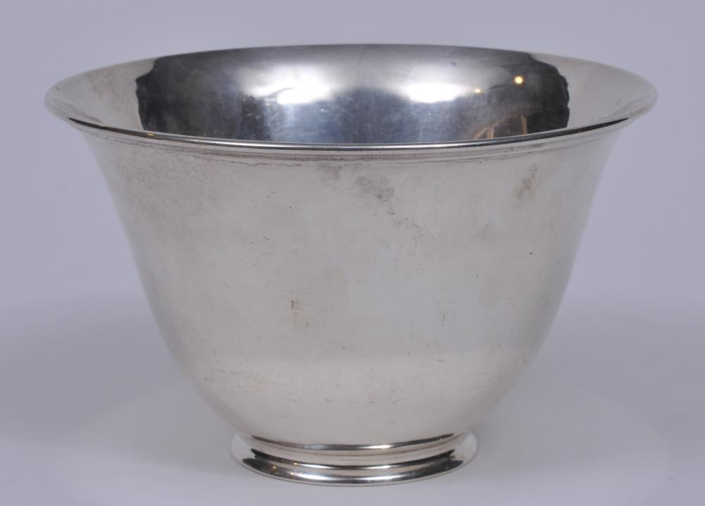 """Arthur Stone sterling silver Arts and Crafts bowl.  4-1/8"""" high. 6-1/2"""" wide/ 13.3 ozt.  Good condition."""
