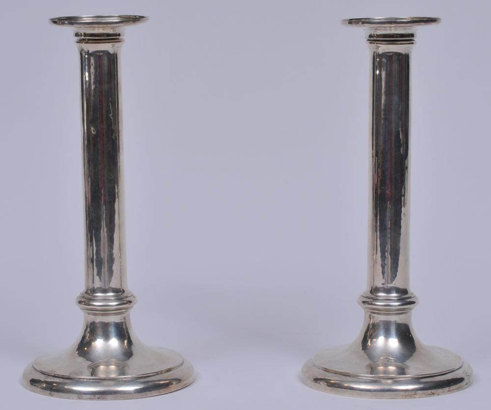 """Frederick J.R. Gyllenberg makers Arts and Crafts sterling silver candlesticks. Filled bases and shafts. Bobeches marked. A couple of small dents on shafts. 10"""" high."""