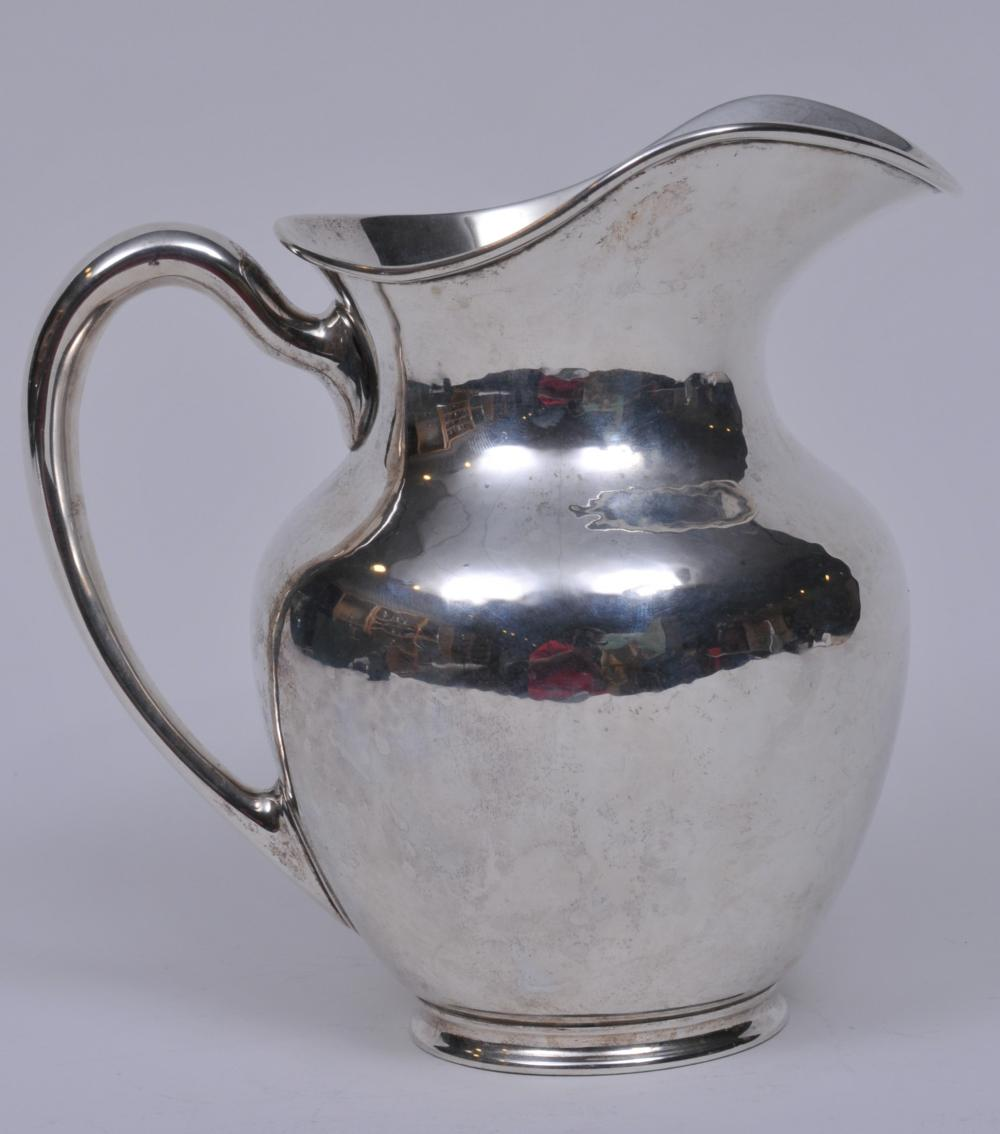 """Frederick J.R. Gyllenberg makers  sterling silver Arts and Crafts pitcher. 8-1/4"""" high. Good  condition. 29.2 ozt."""