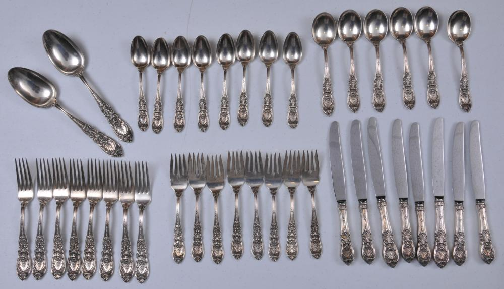 "Lot 20: International makers sterling silver. Richlieu pattern 40 piece flatware set. Includes: (8) forks- 7-1/4"". (8) salad forks- 6-5/8"". (8) teaspoons- 6"". (6) cream soup spoons- 6-1/2"". (2) large serving spoons- 8-1/2"". (8) knives- 8-3/4"". Eight knife h"