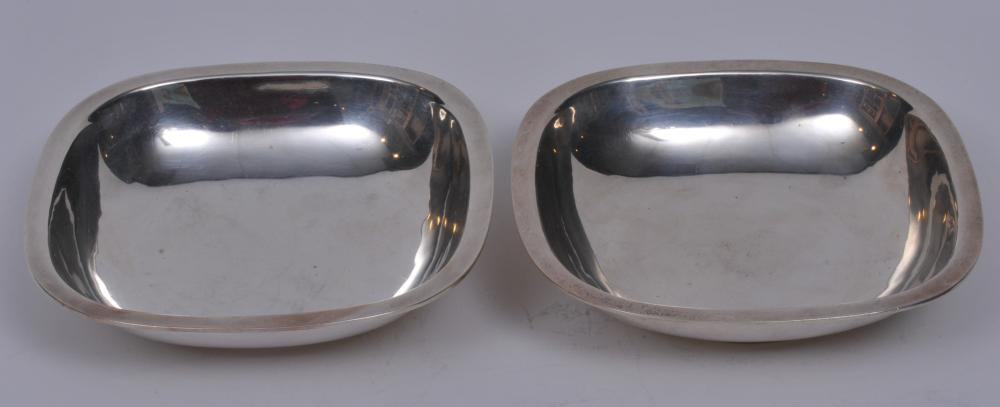 """Arthur Stone. Pair of sterling silver Arts and Crafts low square bowls with flat rims. 6-1/4"""" square. 1-1/2"""" high. Good condition.  Light scratches.  17.9 ozt"""