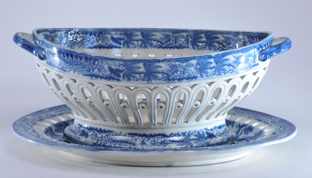"""J.D. & Co. Castleford pottery blue transfer pearl ware Staffordshire pierced basket and tray. 1"""" hairline on tray edge. Tray- 11-1/4"""" long."""