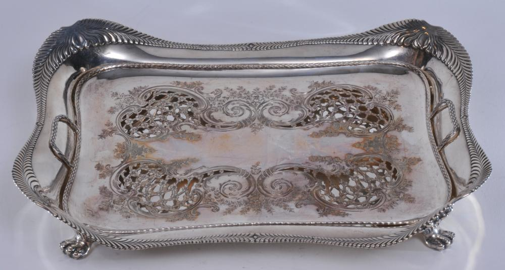 """Tiffany & Co. makers sterling silver Wave Edge pattern claw footed Asparagus tray and elaborate pierced design ball footed two handle liner and floral scroll decoration. Good condition. Tray- 13"""" x 10"""" x 2-1/2"""". Liner- 11-1/2"""" x 7-3/4"""".  Total weight"""