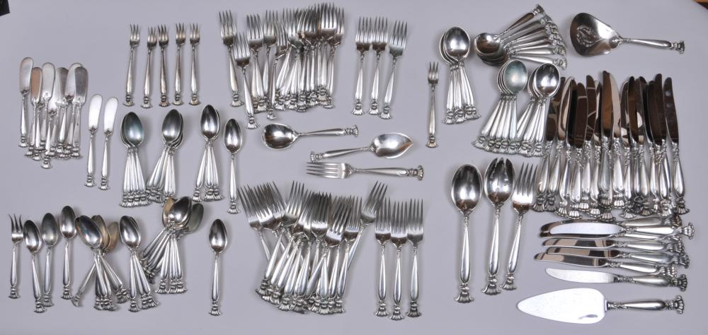 """Wallace """"Romance the Sea"""" sterling silver 153 piece flatware set. Includes: (35) teaspoons- 6"""". (23) forks- 7-1/4"""". (23) salad forks- 6-1/2"""". (23) cream soups- 6"""". (12) solid butter knives. (6) seafood forks- 5-1/2"""". (23) knives- 9"""". (1) serving spoo"""