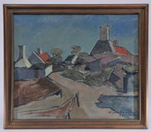"Lot 37: Ejnar R. Kragh. A November Pathway. 1930. Modernist town scene with pathways. Signed and dated lower right. Oil on canvas. Framed. Titled on reverse. Sight size: 23"" x 27"". Overall size: 27"" x 30""."