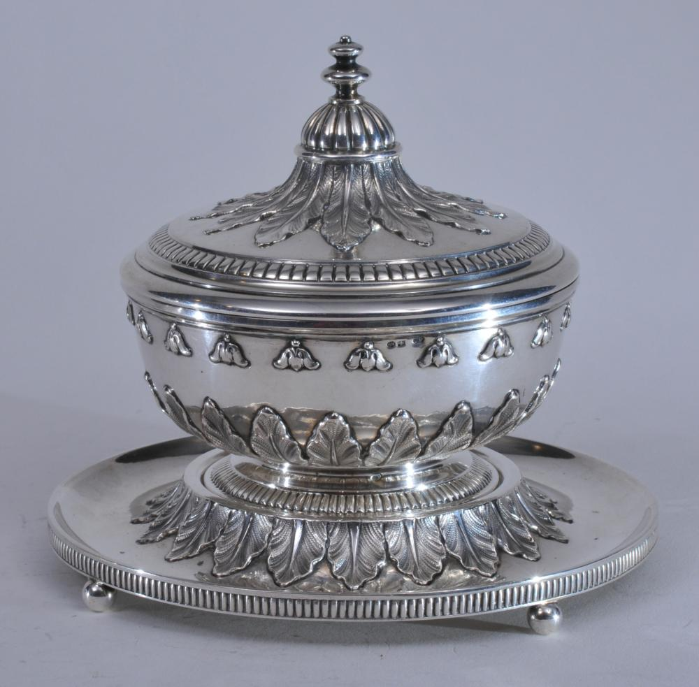 """Schwartz & Steiner .800 silver covered round pot on stand. Pot with acanthus leaf decorated finial and base. Ball footed acanthus leaf decorated stand with beaded border. Hallmarked inside cover rim. Body and base good condition. Base- 6-1/4"""" diamete"""