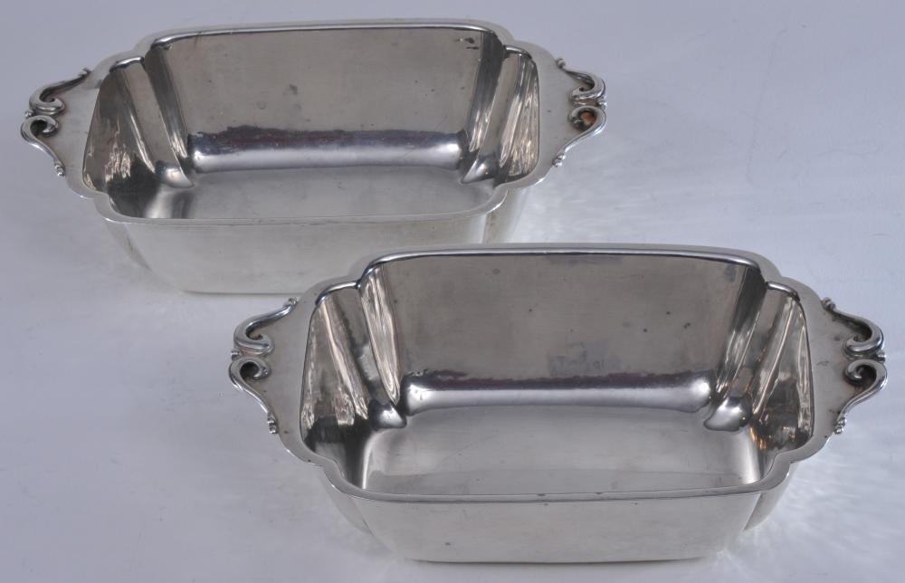 """Pair of Cellini Craft sterling silver Arts and Crafts handled deep dishes. Hand hammered finish. 8-1/2"""" wide. 5-1/4"""" deep. 2-1/2"""" high.  20.9 ozt. Good condition."""