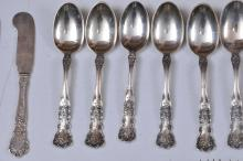 "Lot 60: Gorham sterling silver ""Buttercup"" pattern 73 piece partial flatware set. Includes; (12) forks- 7-1/2"". (12) solid butter knives-6"". (11) teaspoons- 5-3/4"". (12) cream soup spoons- 5-1/4"". (12) tablespoons- 7"". (2) fruit spoons- 5-3/4"". Total weight"