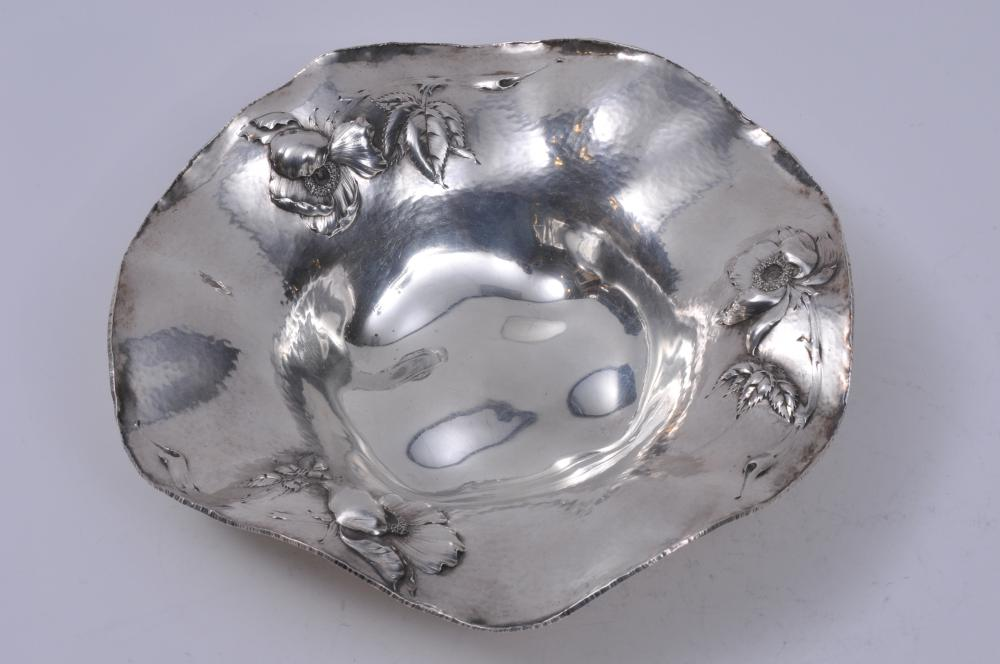 """B.S.C. makers sterling silver hand hammered finish bowl with raised floral decoration and scalloped edge. 8-1/4"""" diameter. 2"""" high. 9.4 ozt.  Good condition."""