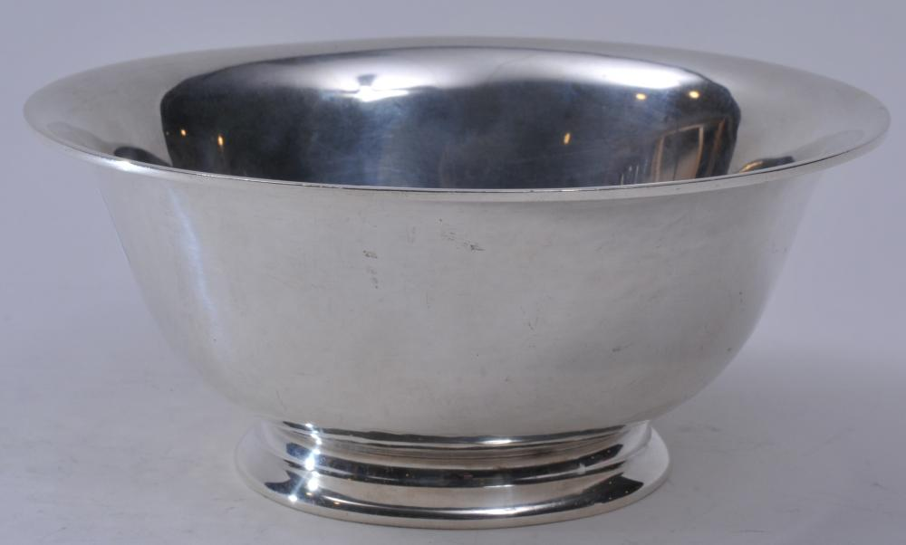 """ONL sterling silver Arts and Crafts small bowl. Hand hammered surface. 6-3/8"""" diameter. 2-7/8"""" high.  9.9 ozt. Good condition otherwise."""
