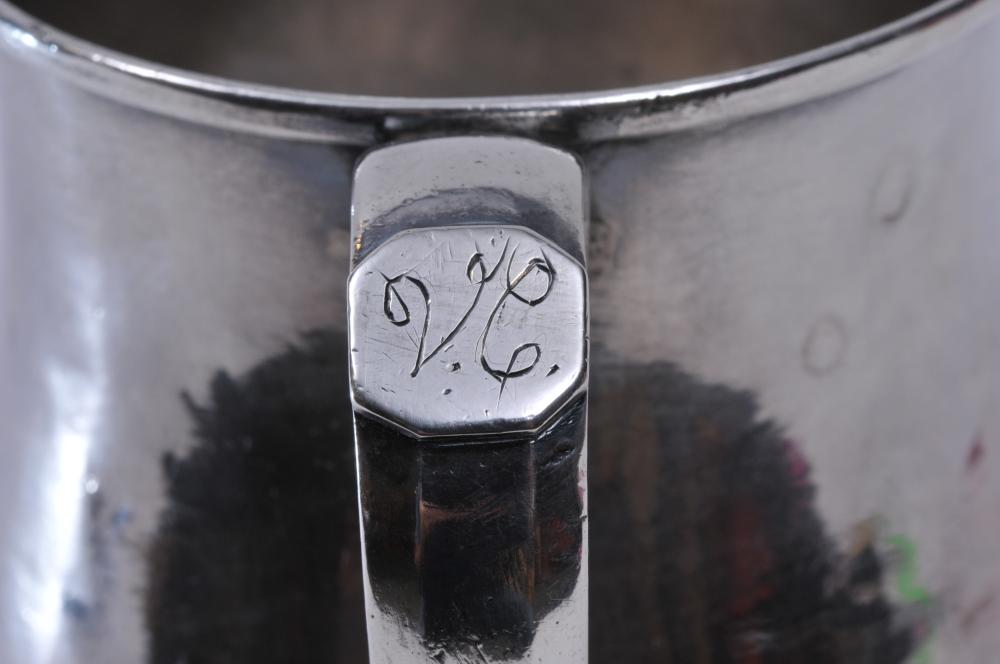 """Lot 85: 18th/19th century silver handle cup or mug. Marked V.C. on handle tab. Possibly Colonial Latin American. 5"""" high. 16.1 ozt. Good condition."""