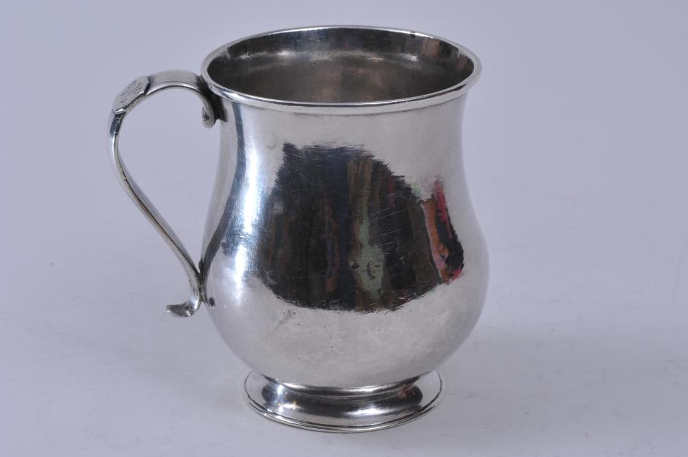 """18th/19th century silver handle cup or mug. Marked V.C. on handle tab. Possibly Colonial Latin American. 5"""" high. 16.1 ozt. Good condition."""