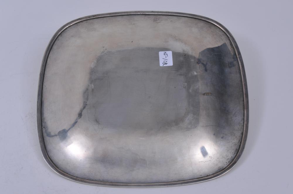 "Lot 88: Arthur Stone sterling silver Arts and Crafts square dish with moulded under rim. 10"" square. Good condition. Light scratches. 16.8 ozt."
