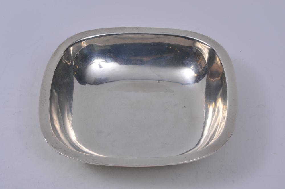 "Lot 93: Arthur Stone sterling silver Arts and Crafts square low bowl. Flat top rim. 7-3/4"" square. 1-3/4"" high. Good condition. Light scratches. 12.5 ozt."