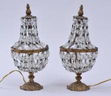 """Lot 96: Pair of small gilt metal table lamps with graduated crystal chain decoration. 10-3/4"""" high."""