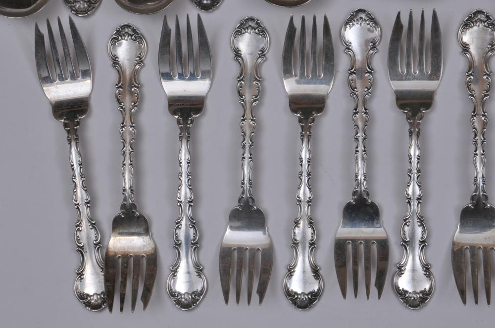 """Lot 97: Gorham """"Strassbourg"""" sterling silver flatware pieces. Includes: (11) salad forks- 6-1/2"""". (12) cream soup spoons- 6-1/4"""". 29.9 ozt. Total weight"""