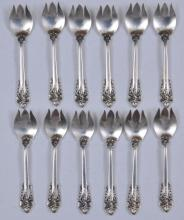 """Lot 103: 12 Wallace """"Grand Baroque"""" sterling silver Ice Cream Forks. 5-1/2"""". Total weight 11.2 ozt"""