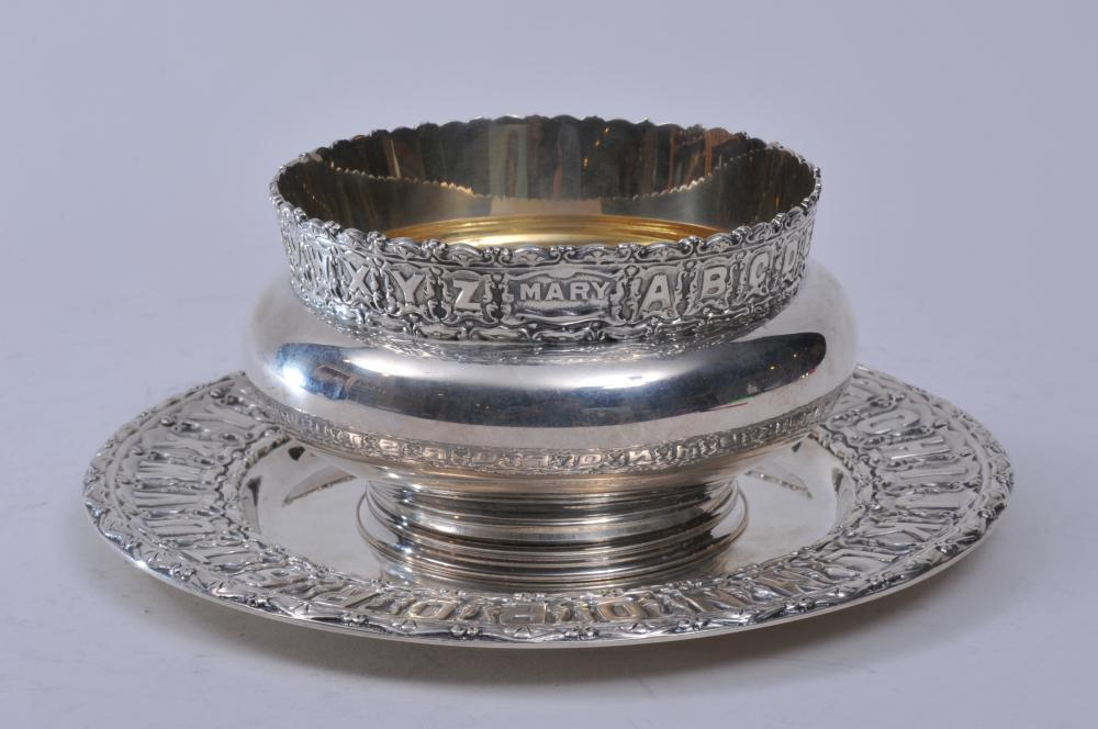 """Black Starr & Frost makers heavy sterling silver two piece child's set. Ornate alphabet plate. """"Mary"""". 8"""" diameter alphabet decorated bowl. """"Mary"""". Gilt lined. 5"""" diameter. Good condition. 25 ozt."""