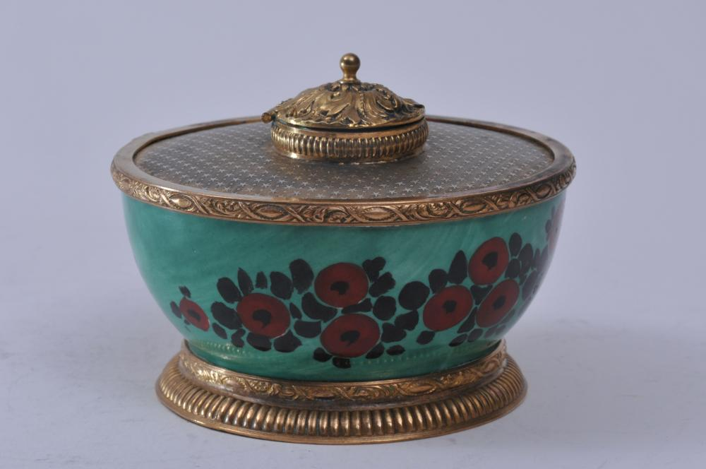 """French porcelain round gilt metal mounted inkwell. Green ground, floral decorated. Signed on body. 4-1/4"""" diameter."""