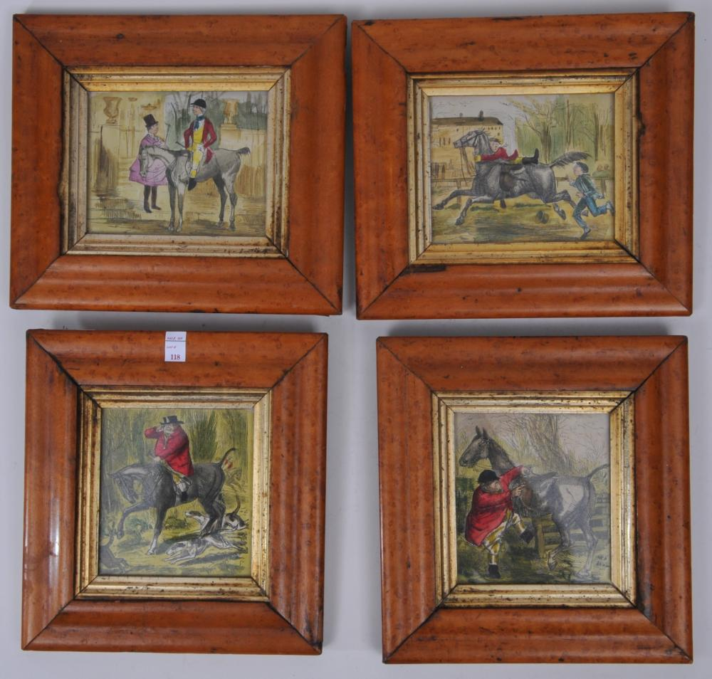 """Set of four John Leech 19th century colored engravings depicting comical hunt scenes. Framed in antique birds eye maple frames. Titled on reverse. Imperfections to frames. Overall sizes: 8"""" x 7-1/2""""."""