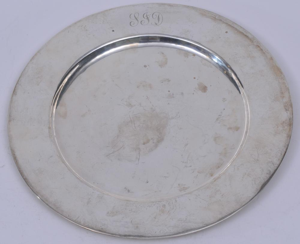 """Clemen's Friedell sterling silver hand wrought Arts and Crafts Pasadena, Calif. Round plate. Monogrammed. Good condition. Light scratches. 11"""" diameter. 16.4 ozt."""
