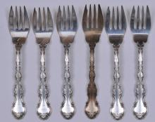 "Lot 128: Six Gorham sterling silver forks. 6-1/4"". Total weight- 7.8 ozt."