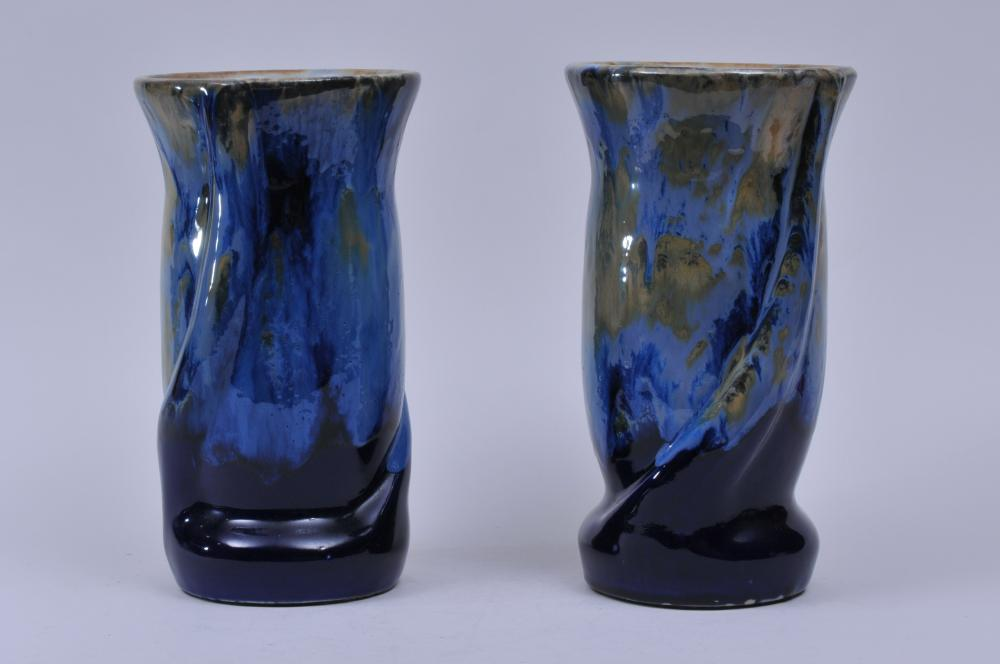 """Pair of 20th century Art Pottery blue glaze vases with yellow splashed decoration.  11-1/2"""" high."""