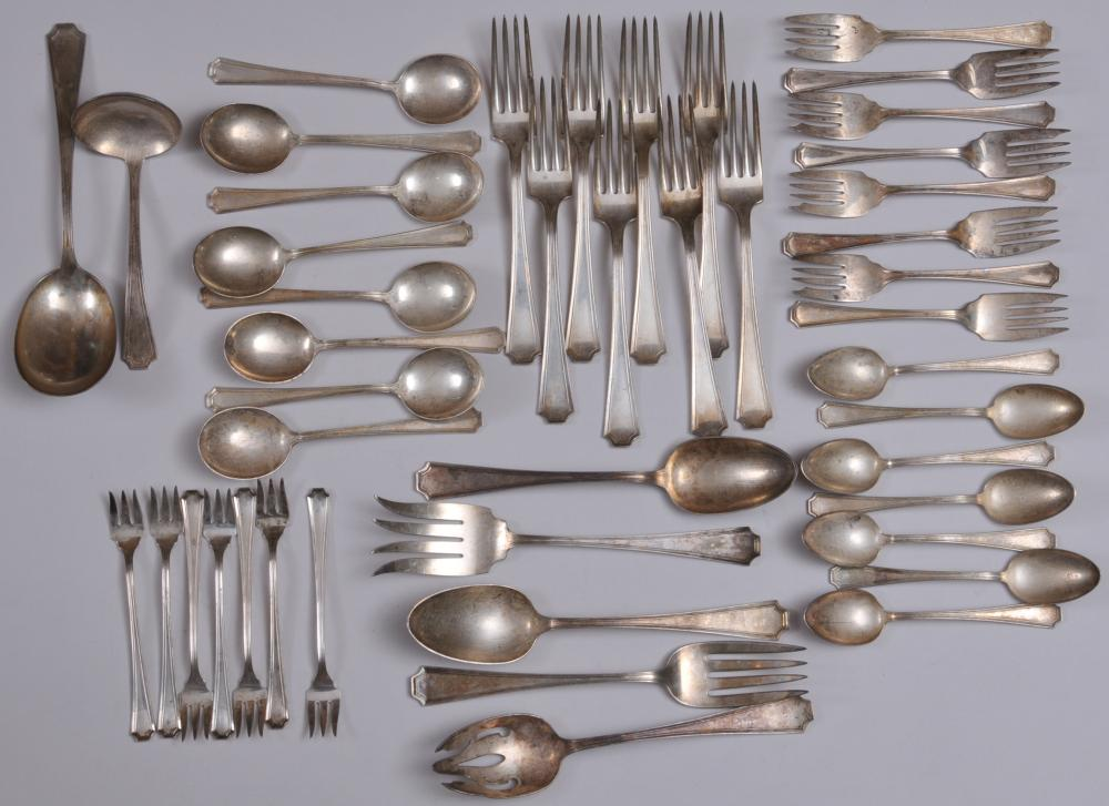 """Gorham """"Fairfax"""" pattern sterling silver 45 piece partial flatware set. Includes: (8) large forks- 8"""". (8) cream soup spoons- 6-1/4"""". (7) teaspoons- 5-3/4"""". (8)salad forks- 6-1/8"""". (7) seafood forks- 5-1/2"""". (3) large serving spoons. -one pierced bow"""