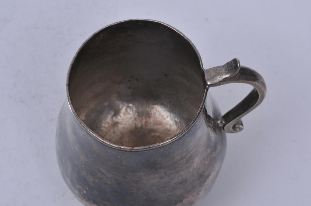 "Lot 170: 18th/19th century silver handled cup. Possibly Colonial Latin American. 4-3/4"" high. 11.2 ozt. With dings."
