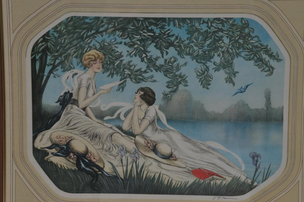 """Pair of Art Deco Icart style prints of young women in interior and extrerior genre. F.G. Henri. Framed. Overall size"""" 21"""" x 25""""."""