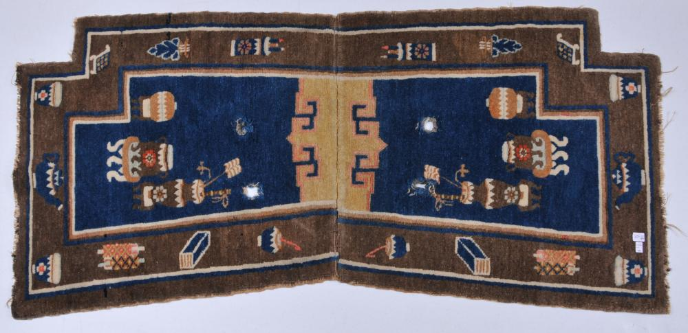 """19th/20th century Chinese saddle bag carpet decorated with antiquities design. 49"""" x 23""""."""