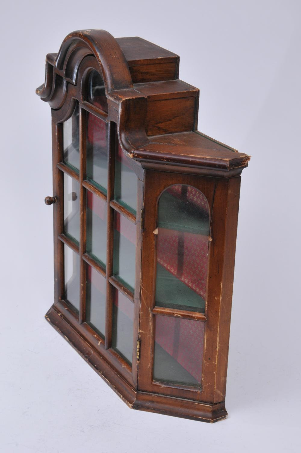 "Lot 188: Small hanging wall display cabinet. 18"" high."